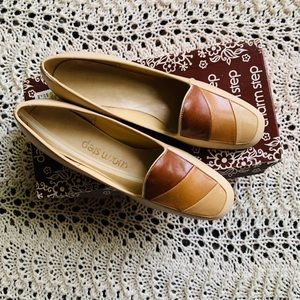 Vintage NIB Brown Colorblock Leather Loafers Flats